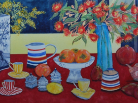 Large Still Life with Wattle and Gum Flowers